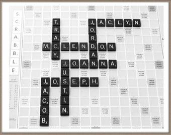 Scrabble Wall Art Print, personalized art, Family name art, wall art.  Custom art, Custom gift.  Personalized gift.  Family name.