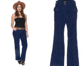 Corduroy Pants 70s Flares Navy Blue Wide Cords Bell Bottoms Low Rise Patch Pocket 1970s Mod Hippie Trousers / Size M Medium