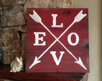 LOVE with Arrows - Distressed Wood Sign