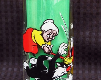 Vintage Tweety Bird Glass Tumbler Warner Brothers and Looney Tunes Tall Drinking Glass Pepsi Collector Series