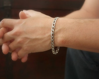 CLEARANCE, Thick Men's Bracelet, Stainless Steel Bracelet, Steel Curb Chain, Gift for Him, Heavy Gauge Chain Bracelet, Bohemian Jewelry