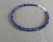 Genuine Sapphire Bracelet 31 carat with silver clasp. ( 7 inches )