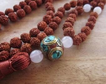 Mala Rudraksha 108 beads rose quartz and Tibetan Guru bead Necklace / 35 inches long