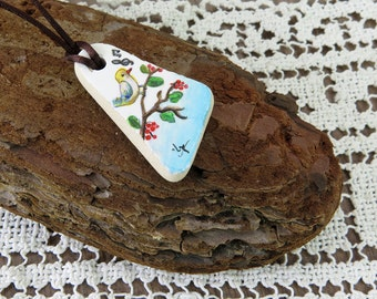 Genuine Sea Pottery Top Drilled, Handpainted Pottery Shard, Acrylic Painting Tiny Bird Miniature , Handmade Necklace on Cord