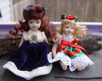 Vintage Porcelain Articulated Victorian and Christmas Dolls Small