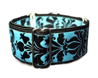 Martingale Collar: Baby Blue Damask Jacquard - 2 Inch, Greyhound Collar, Martingale Dog Collar, Custom Dog Collar, Whippet Collar