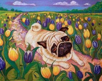 Pug painting art  tulips Spring pug tulips whimsy ORIGINAL Dog Art pugs whimsical 13 x 19