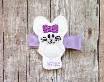 Easter Bunny Felt embroidery hair clip / girl barrette / non slip hair clip / baby hair clip ...