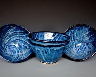 Blue Swirl Pottery Salad Bowl Ceramic Bowl