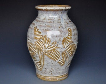 Incised Ceramic Decorative Flower Vase Handmade Pottery A