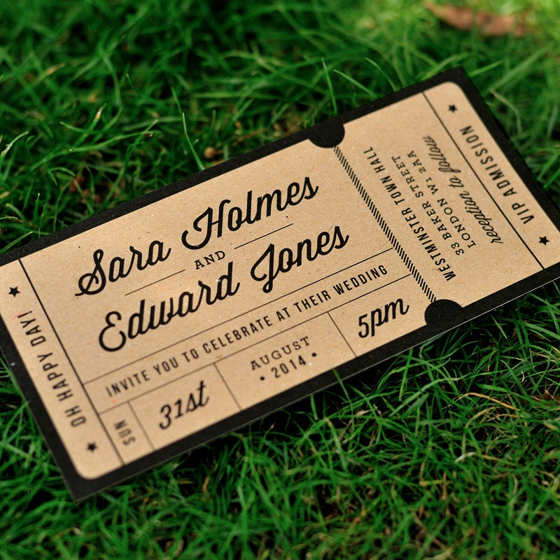 Rustic Recycled Ticket Wedding Invitation / By Twoforjoypaper  Concert Ticket Invitation Template
