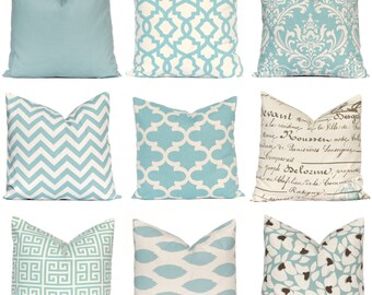 Decorative Pillow Cover, Village Blue Pillow Cover, Throw Pillow, Pillows, Toss Pillow, Accent Pillow, Village Blue and Natural, 1- 18 x 18