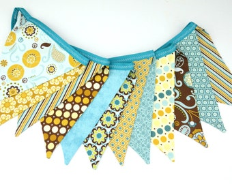 READY TO SHIP! Reusable Fabric Bunting, Banner, Pennant, Flag, Garland, Photo Prop, Decoration, So Sophie, Riley Blake, Brown, Turquoise