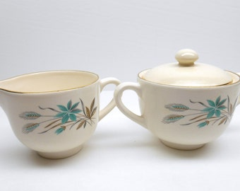 Vintage Cream and Sugar  Set  by  Georgian China In Canadian Wheat Pattern