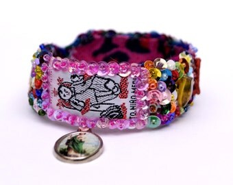Niño Medico Scapular woven embroidered bracelet
