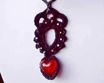 Black Lace Red Heart Victorian-Goth Pendant Necklace