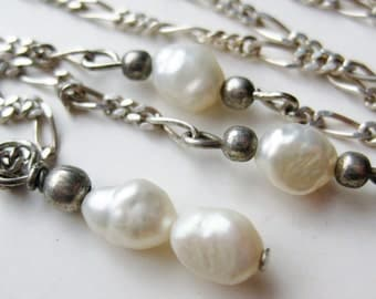Vintage Freshwater Baroque Pearl Sterling Silver Necklace
