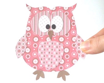 50% Off - Paper Owl Printable - Pink Layered Papercraft Embellishment for Card Making Gift Tag Party Decoration