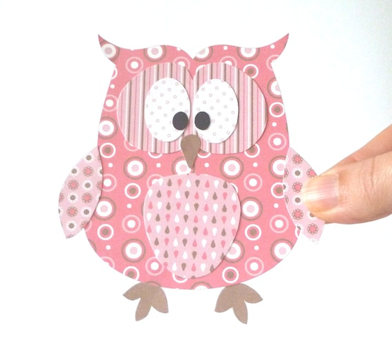 Paper Owl Printable - Pink Layered Papercraft Embellishment for Card Making Gift Tag Party Decoration