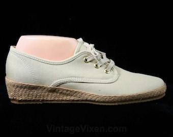 Size 10 M Ecru Vintage Sneakers - Classic Large Size Shoes - 80s Casual Beige Shoe - Cream Canvas - Woven Jute - Deadstock - 44178-1