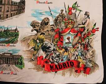 Madrid Spain Souvenir Scarf - 1960s - Spanish Bullfighter - Matador - European - Old World - Monuments - Large Square - 43465