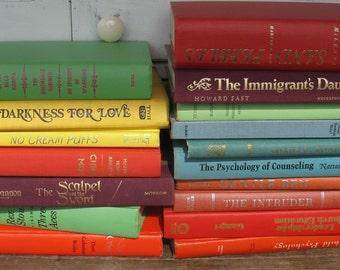 spring colored books set of 17 green orange yellow wedding spring deocrating