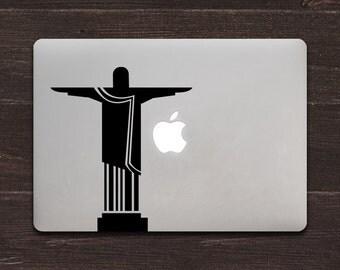 Christ the Redeemer Statue Silhouette Vinyl MacBook Decal BAS-0269