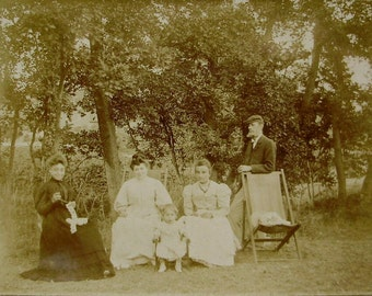 Antique French Photo - Family in the Garden