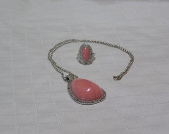 Vintage Avon pear shaped faux marcasite pink Coral pendant necklace and ring