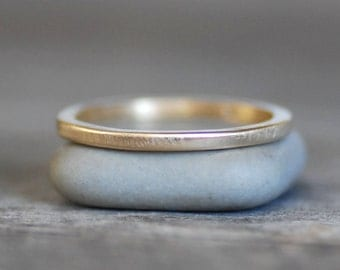 Thin Square Wedding Band, 1.5x1.5mm - Hammered OR Smooth 14k OR 18k - Eco-Friendly Recycled Gold