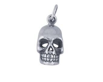Sterling Silver 3-D Skull Charm