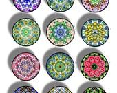 SALE, 1 Inch Digital Circles, 48 Different, Mandalas, Kaleidoscopes, Digital Collage Sheet, Digital Art, Printable Download, CS 412
