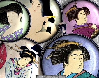 Printable  1 Inch Circles  Digital Collage Sheet Asian Art Instant Download Vintage Japanese Geisha Printable Downloads Clip Art CS 259