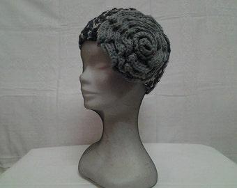Boho Style Crochet  Melange Black  Hat   --  Flapper  hat with gray Rosette --Crochet black cap for women