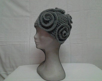 1920s Winter Gray Hat ,Crochet Flapper Gray  Hat, Winter Gray Hat  with Squiggles.