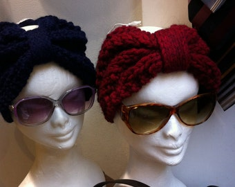 Boho Style Hook  Wool  Turbans for Women, 1970s Vintage Inspired Headband , Handmade Hippie Knitting Winter Hat, Made To Order