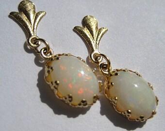 Estate Australian Opal Drop Earrings 14K Gold Victorian
