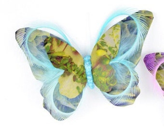 Feather Butterfly - One Aqua Print Paper Feather Butterfly On Clip - 5 Inches - Artificial Butterfly