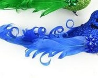 Artificial Decorative 5 Inch ROYAL BLUE Glitter Bird with Feather Tail on Clip - Craft Embellishment - Home Decor