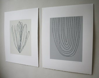 Pair of screenprints based on ink drawings of plant forms.