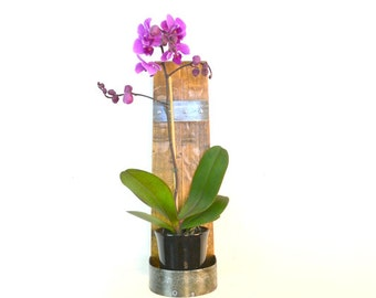 """VESSEL - """"Aporum"""" - Wall Hanging Wine Bottle Flower Holder - 100% recycled"""