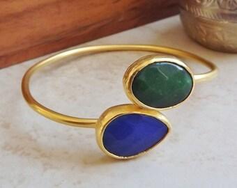 Emerald Green Blue Jade Gemstone Stackable Bangle Bracelet - 22k Matte Gold Plated