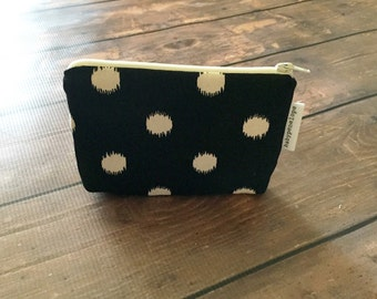 Padded Cosmetic Bag/ Gadget Case - Black and Cream  Polka Dots