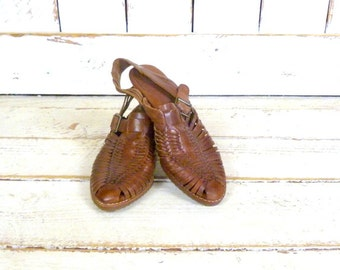 Vintage brown huarache style woven leather sandals/Bass braided leather sandals/7