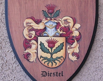 Family crest wooden plaque, hand painted Coat of Arms 8 x 9 / 9 x 10
