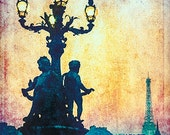 Tour Eiffel at dusk - Grunged Photographic Print by Doug Armand on Etsy - DAIP0100