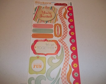 "Party Time Cardstock Stickers by Cosmo Cricket 5.5"" x 13"" sheet"