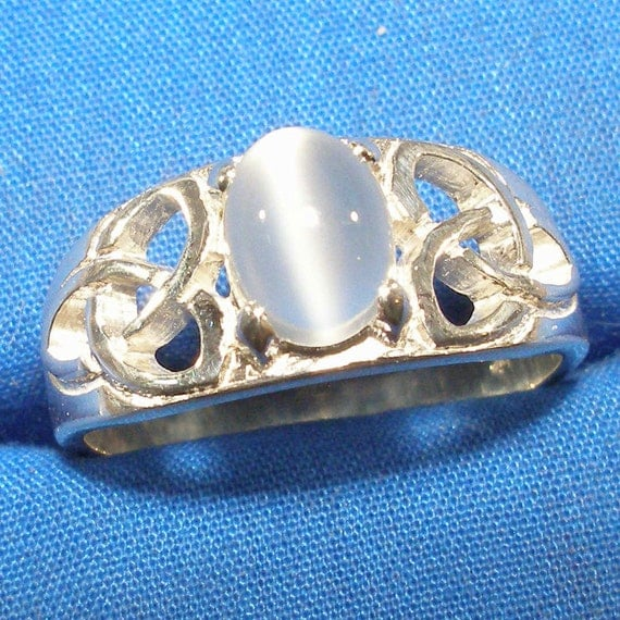 Man's Celtic Triskel Moonstone Ring Wedding Band Set