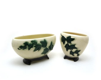 Royal Copley vine planters, Footed ceramic vases, Vintage art pottery, Green ivy