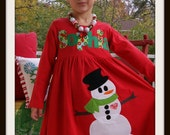 Snowman Dress - Personalized Snowman Dress - Infant Toddler Youth Girl sizes - Winter Snowman Dress - Buy 3 Get 1 Free Listing
